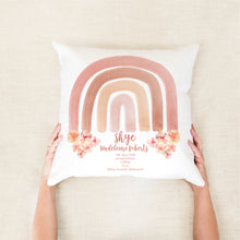Load image into Gallery viewer, Watercolour Floral Rainbow Birth Stat Cushion - Happy Joy Decor