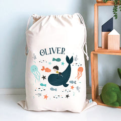 Whale Rider Personalised Toy Storage Sack