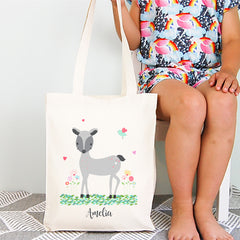 Woodland Deer Girls Personalised Library Tote Bag