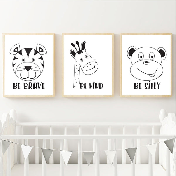 Be Brave Silly Kind Animal Monochrome Printable Wall Art- Happy Joy Decor