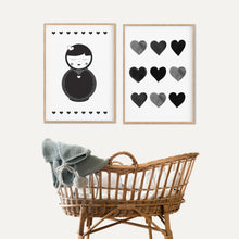 Load image into Gallery viewer, Babuska Heart Print - Monochrome Prints - Happy joy Decor