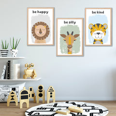 Be Happy Silly Kind Safari Animal Instant Download Print Set - Happy Joy Decor