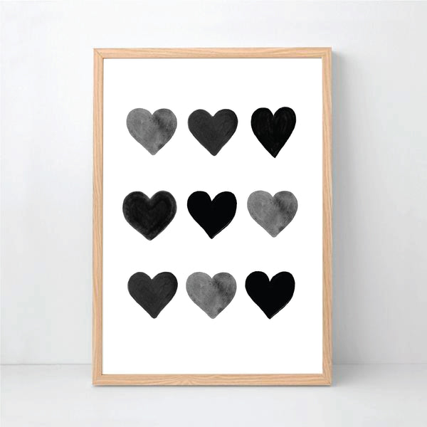Black Hearts Printable Wall Art - Happy Joy Decor