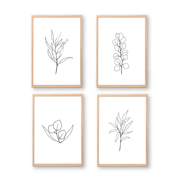 Black & White Sketchy Leaf Printable Art Set - Happy Joy Decor