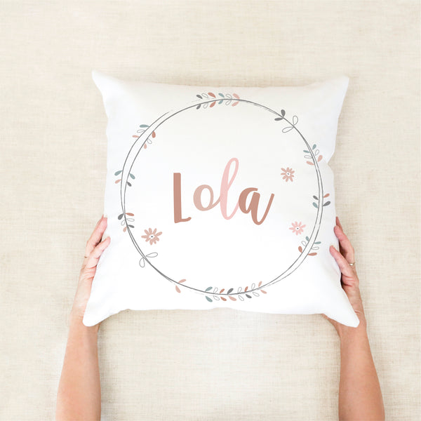 Boho Wreath Personalised Cushion - Girls Nursery Decor - Happy Joy Decor