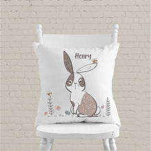 Load image into Gallery viewer, Boys Bunny Personalised Cushion - Boys Bedroom Decor - Happy Joy Decor