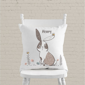 Boys Bunny Personalised Cushion - Boys Bedroom Decor - Happy Joy Decor