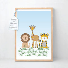 Animal Safari Wall Art Printable Instant Download - Happy Joy Decor