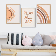 Load image into Gallery viewer, Play All Day Print Set - Boho Playroom Prints - Happy Joy Decor