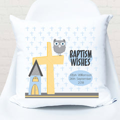 Blue owl christening | baptism personalised cushion - Happy Joy Decor