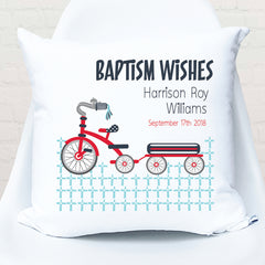 Tricycle personalised christening | baptism cushion - Happy Joy Decor