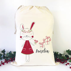 Christmas Bunny Personalised Santa Sack - Happy Joy Decor
