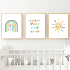 Neutral Rainbow Printable Wall Art - Happy Joy Decor