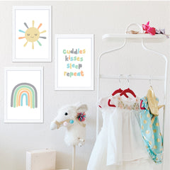 Cuddles Rainbow & Sun Neutral Printable Wall Art Set - Happy Joy Decor