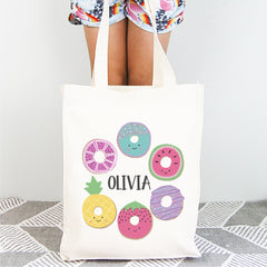 Doughnut Personalised Girls Library Tote Bag - Happy Joy Decor