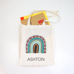 Earth Rainbow Personalised Library Tote Bag - Happy Joy Decor