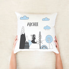 Load image into Gallery viewer, Explorer Bear Personalised Cushion - Boys Bedroom Decor - Happy Joy Decor
