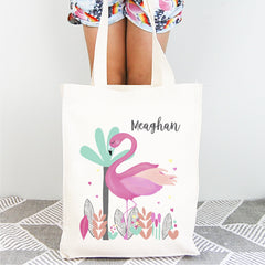 Flamingo Personalised Library Tote Bag - Happy Joy Decor