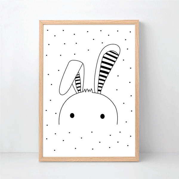 Floppy Ear Bunny Printable Wall Art - Happy Joy Decor