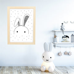 Floppy Bunny Ear Monochrome Wall Art Printable Instant Download - Happy Joy Decor