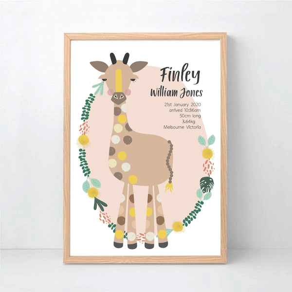 Giraffe Birth Stat Print - Happy Joy Decor