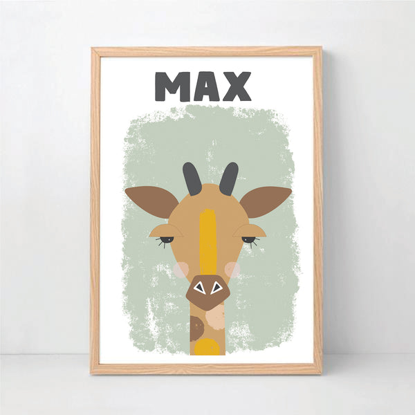 Cheeky Giraffe Personalised Print - Happy Joy Decor