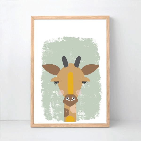 Cheeky Giraffe Wall Art Printable Instant Download - Happy Joy Decor