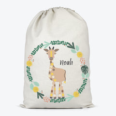 Giraffe Personalised Toy Storage Bag - Happy Joy Decor
