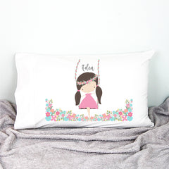 Girl On A Swing Personalised Pillowcase - Happy Joy Decor
