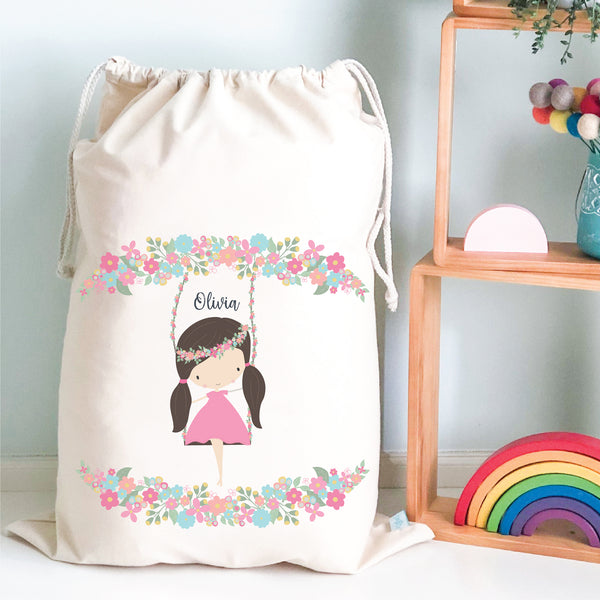 Girl On A Swing Personalised Toy Storage Bag - Happy Joy Decor