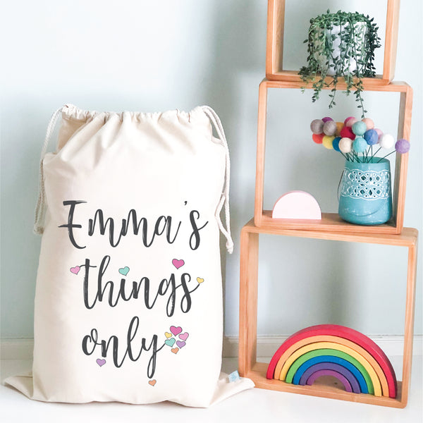 Girls Things Only Personalised Storage Sack
