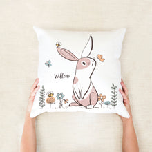 Load image into Gallery viewer, Girls Bunny Personalised Cushion - Girls bedroom decor - Happy Joy Decor