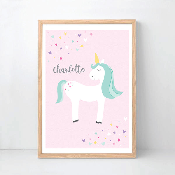 Pink Unicorn Personalised Print - Happy Joy Decor