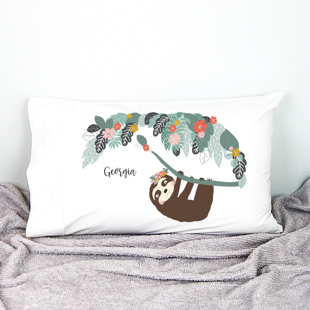 Girls Sloth Personalised Pillowcase - Happy Joy Decor