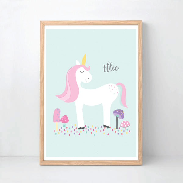 White Unicorn Girl's Personalised Print - Happy Joy Decor