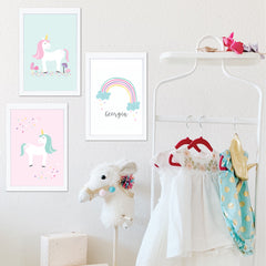Unicorn Personalised Wall Art Print Set - Happy Joy Decor