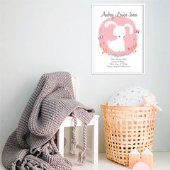 White Bunny Girl's Personalised Birth Wall Art Prints