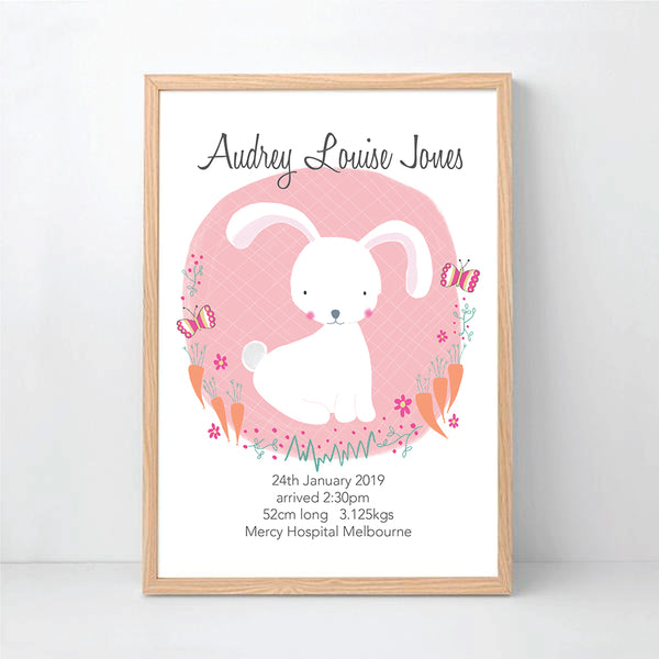 White Bunny Personalised Birth Wall Art - Happy Joy Decor