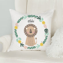 Load image into Gallery viewer, Lion Kids Personalised Jungle Cushion - Happy Joy Decor