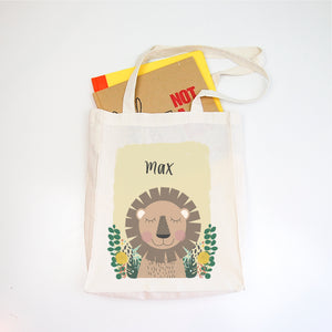 Lion Personalised Library Tote Bag