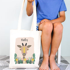 Giraffe Personalised Library Tote Bag - Happy Joy Decor