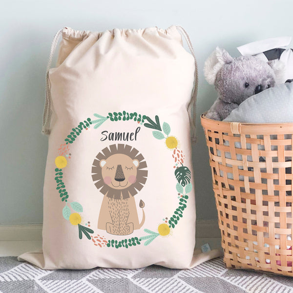 Lion Personalised Toy Storage Bag - Happy Joy Decor
