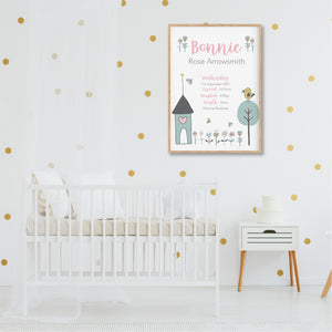 Little Bird House Personalised Birth Stat Print - Girls Nursery Prints - Happy Joy Decor