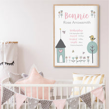 Load image into Gallery viewer, Little Bird House Personalised Birth Stat Print - Girls Nursery Prints - Happy Joy Decor