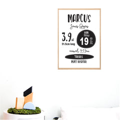 Monochrome Classic Boys Personalised Birth Print