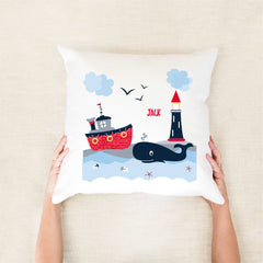 Nautical personalised cushion - custom name pillow - Happy Joy Decor