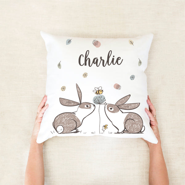 Bunny Personalised Cushion - Neutral Nursery Decor- Happy Joy Decor