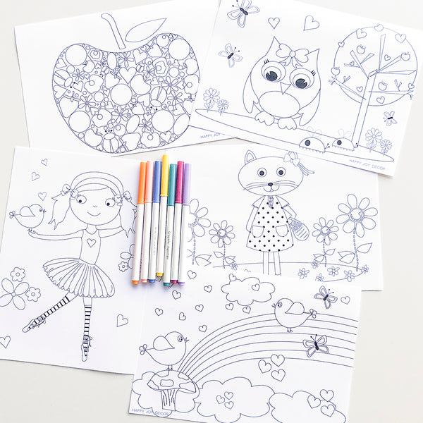 Girls mixed design printable colouring pages