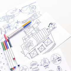 Boys mixed design printable colouring pages