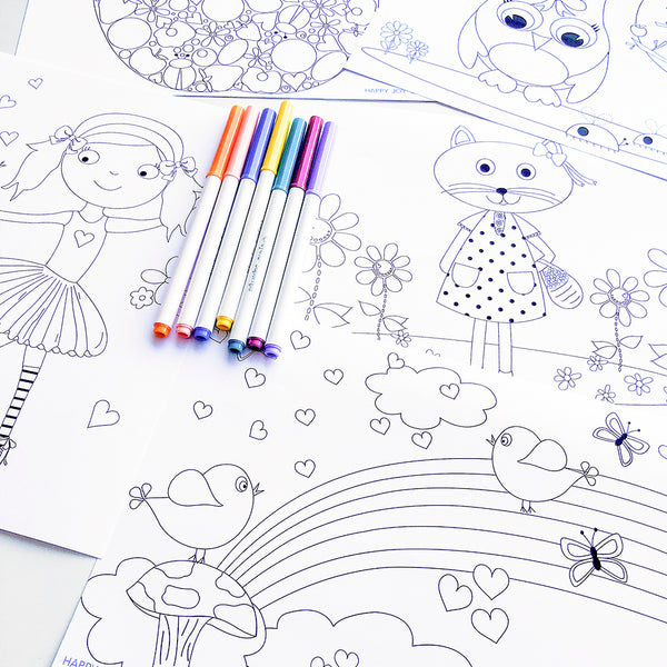 Girls printable designer colouring book #1 - Happy Joy Decor